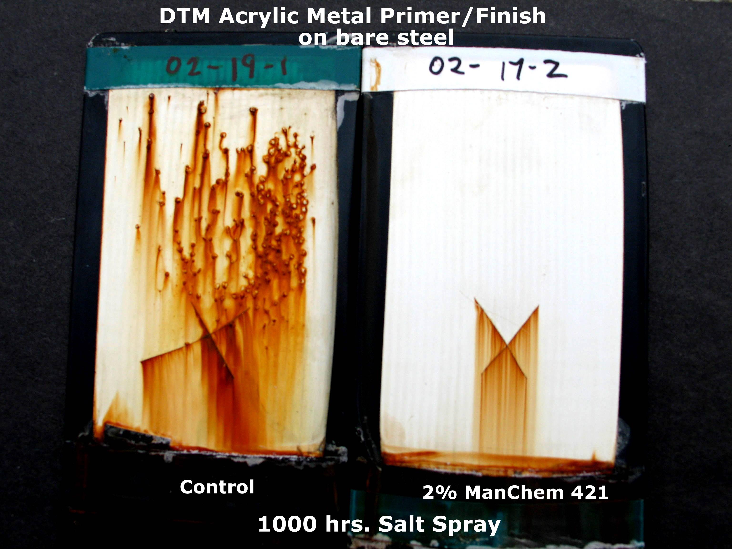 Salt spray test using DTM Acrylic Metal Primer/Finish on bare steel